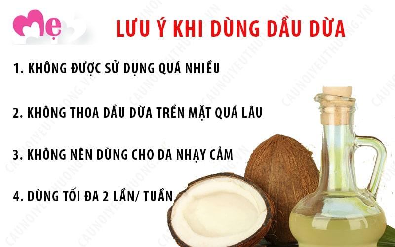 Những lưu ý cần biết khi sử dụng dầu dừa