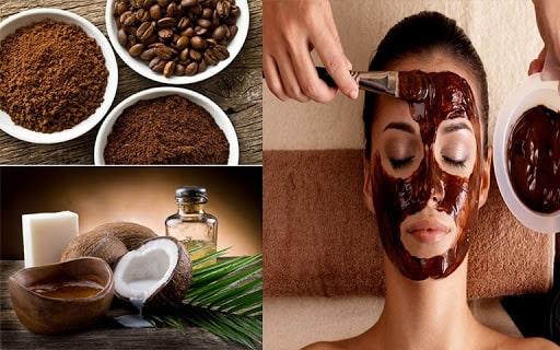 Dưỡng trắng da mặt bằng dầu dừa + cà phê