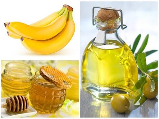 Mặt nạ tóc bằng chuối + mật ong + dầu ô liu
