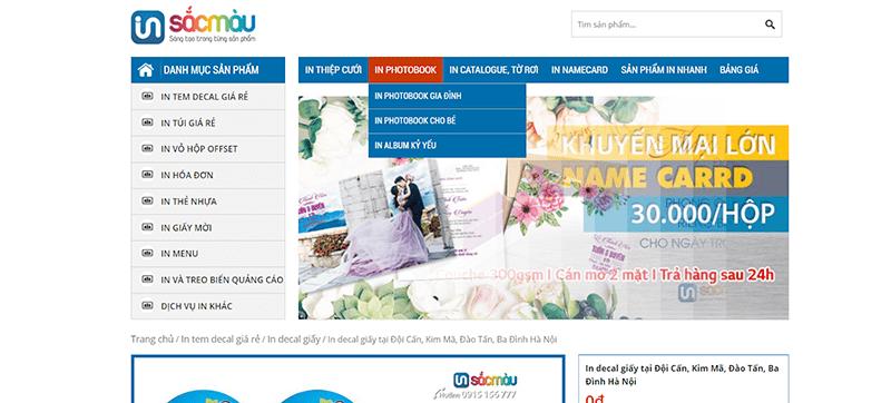 Website công ty In Sắc Màu