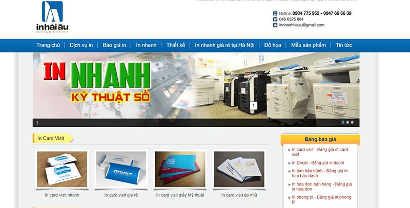 Website công ty TNHH in và thương mại Hải Âu